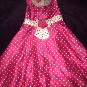 Girls pink polka dot dress size 12